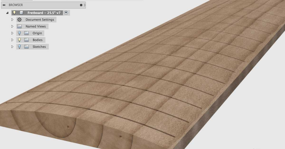 CNC Fretboard Modeling - Fusion 360 | Electric Herald