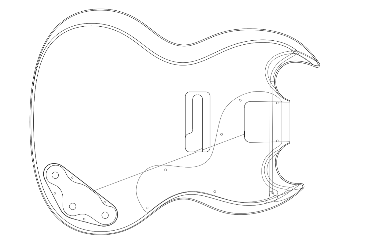 photograph about Printable Guitar Templates called Gibson SG Personalized Guitar Templates Electric powered Herald