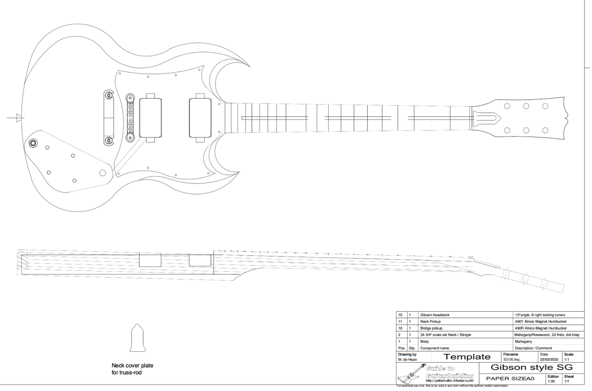 photograph relating to Printable Guitar Templates named Gibson SG Personalized Guitar Templates Electric powered Herald