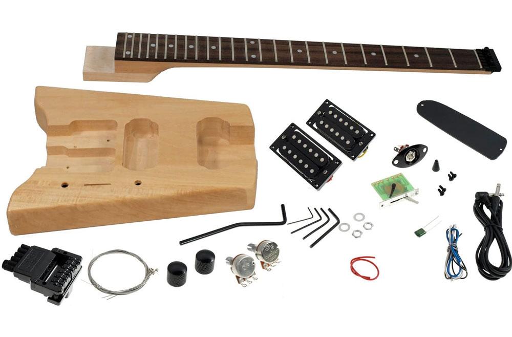 A headless, ergonomic style electric guitar building kit.