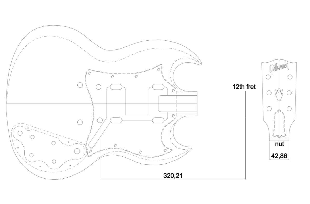 Gibson sg custom guitar templates electric herald for Stratocaster headstock template