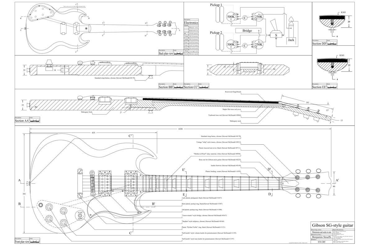 Gibson Sg Custom Guitar Templates Electric Herald
