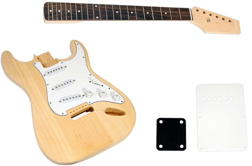 A Fender Stratocaster guitar kit made by Stewart MacDonald