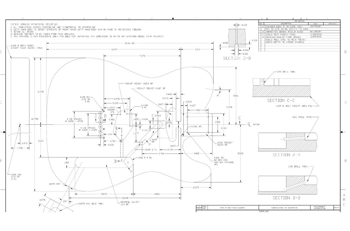 Fender Telecaster Guitar Templates Electric Herald Wiring Diagram For Free Download Schematic Body Front