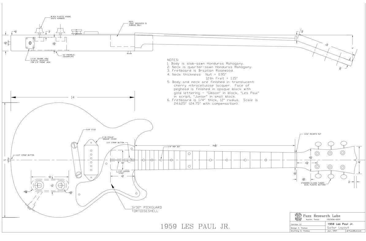les paul junior template