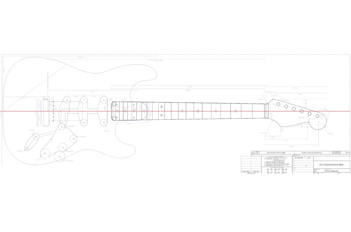 Fender Stratocaster Guitar Templates Electric Herald