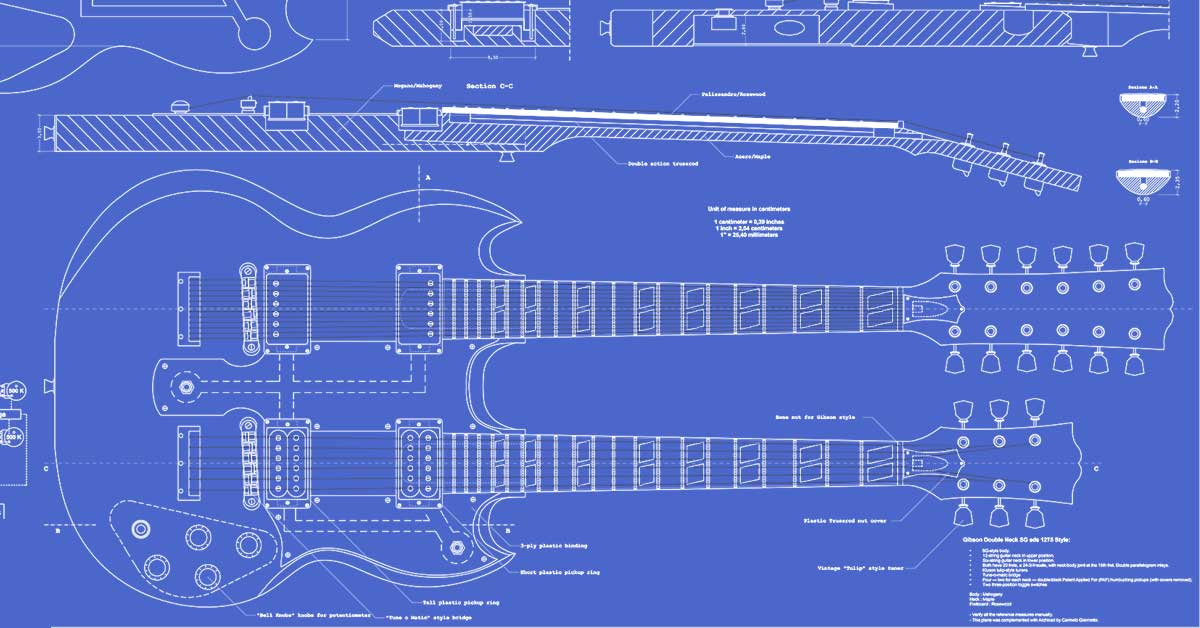 Gibson Double Neck (ESD-1275) Guitar Templates | Electric ...