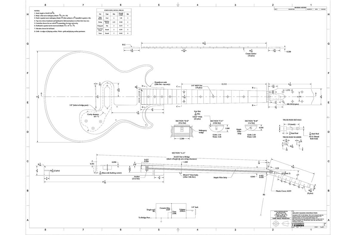 BB Gibson Melody Maker Template gibson melody maker guitar templates electric herald gibson melody maker wiring diagram at eliteediting.co