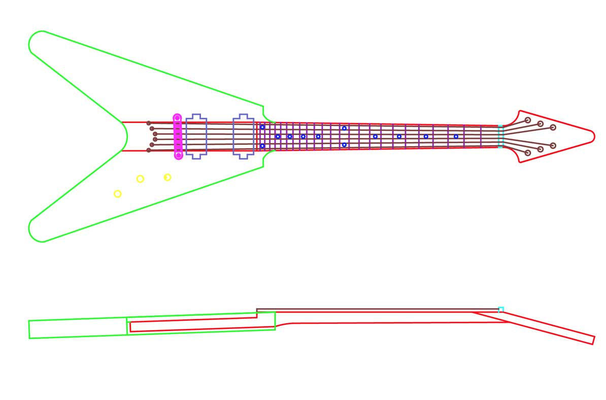 Gibson Flying V Guitar Templates Electric Herald Wiring Schematic 59 Cad Model