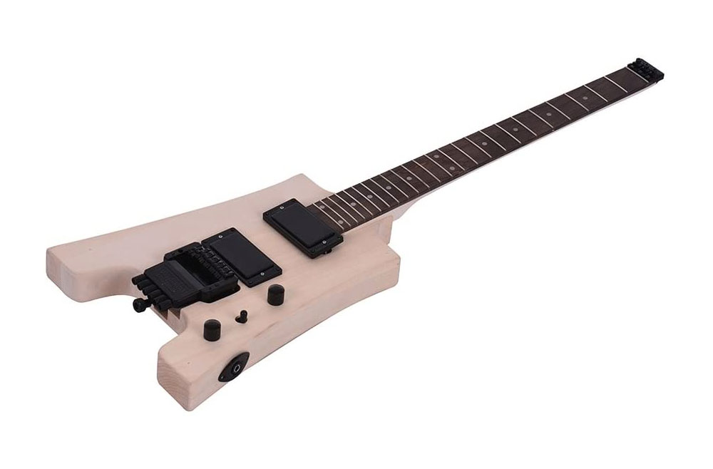 A headless, ergonomic style electric guitar building kit.