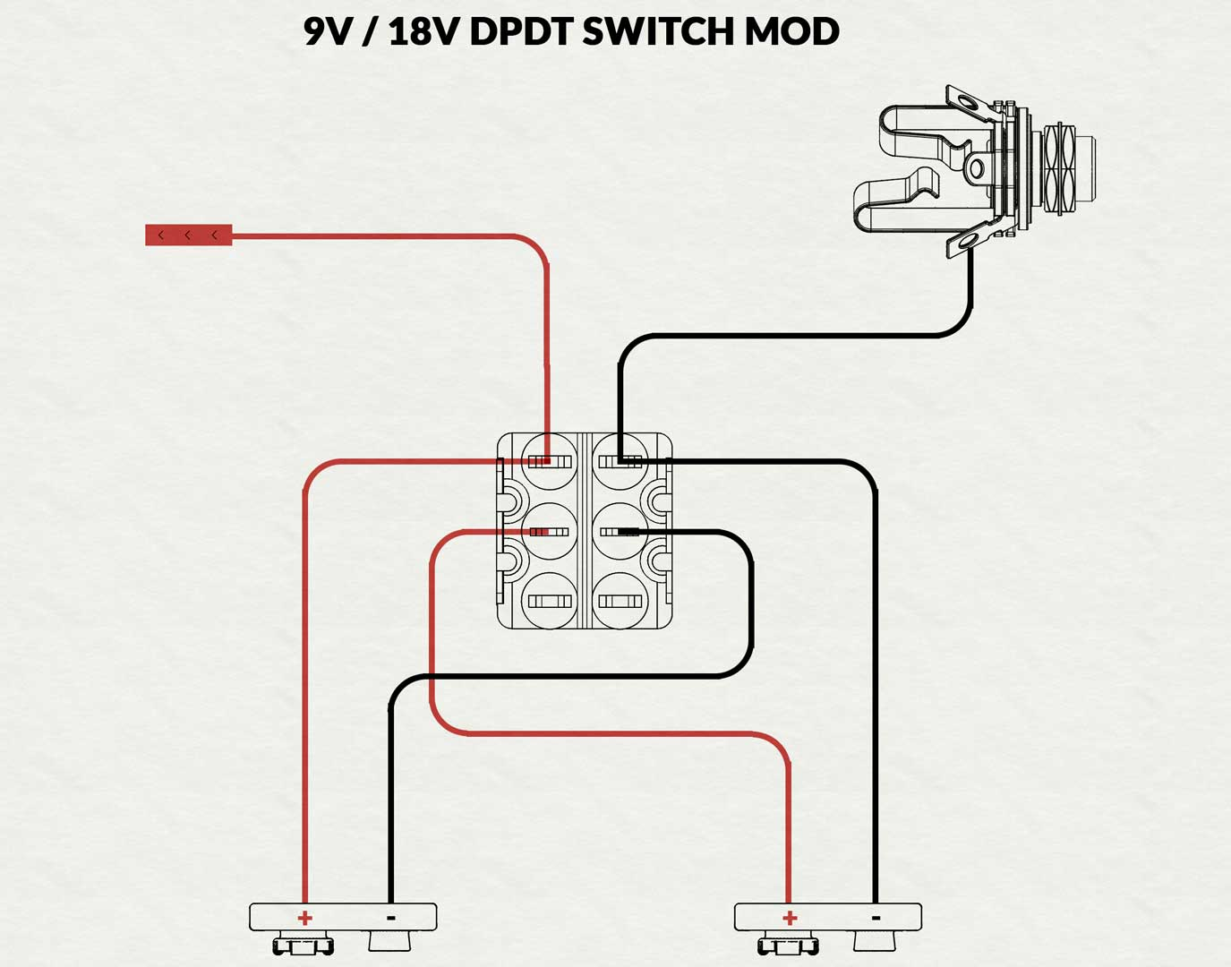 18v Battery Modification For Active Pickups Electric Herald Guild Guitar Wiring Diagram A Mod That Switches Between 9v And