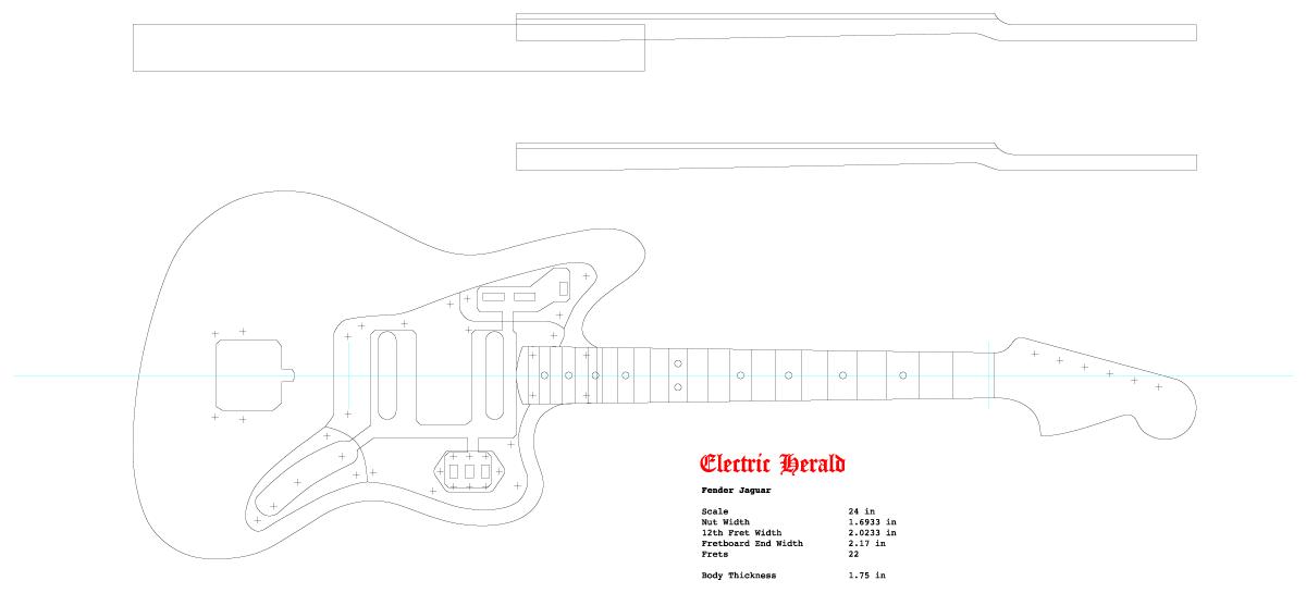 Guitar DXF - Fender Jaguar