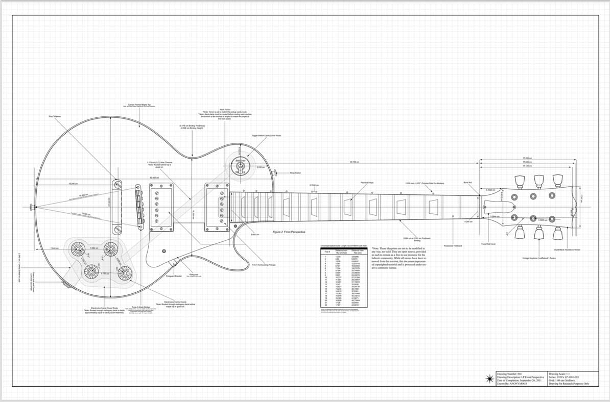 les paul 1950s guitar template