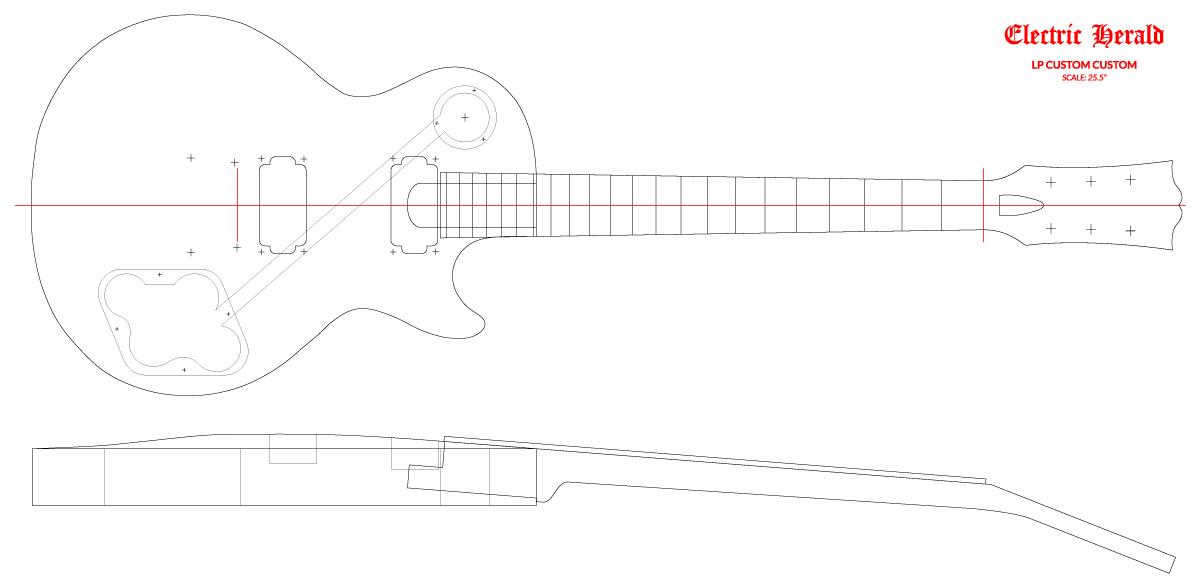 "Guitar DXF - Gibson Les Paul Custom (25.5"")"