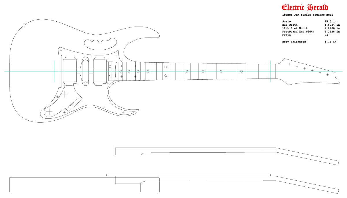 Guitar DXF - Ibanez JEM (Square Pocket)