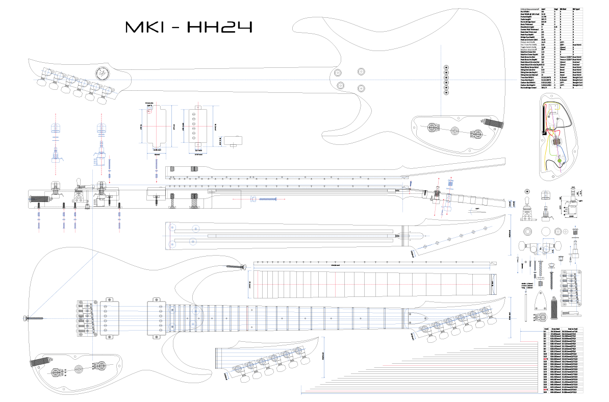 Msk Guitars Mk1hh24 Model Blueprint Electric Herald