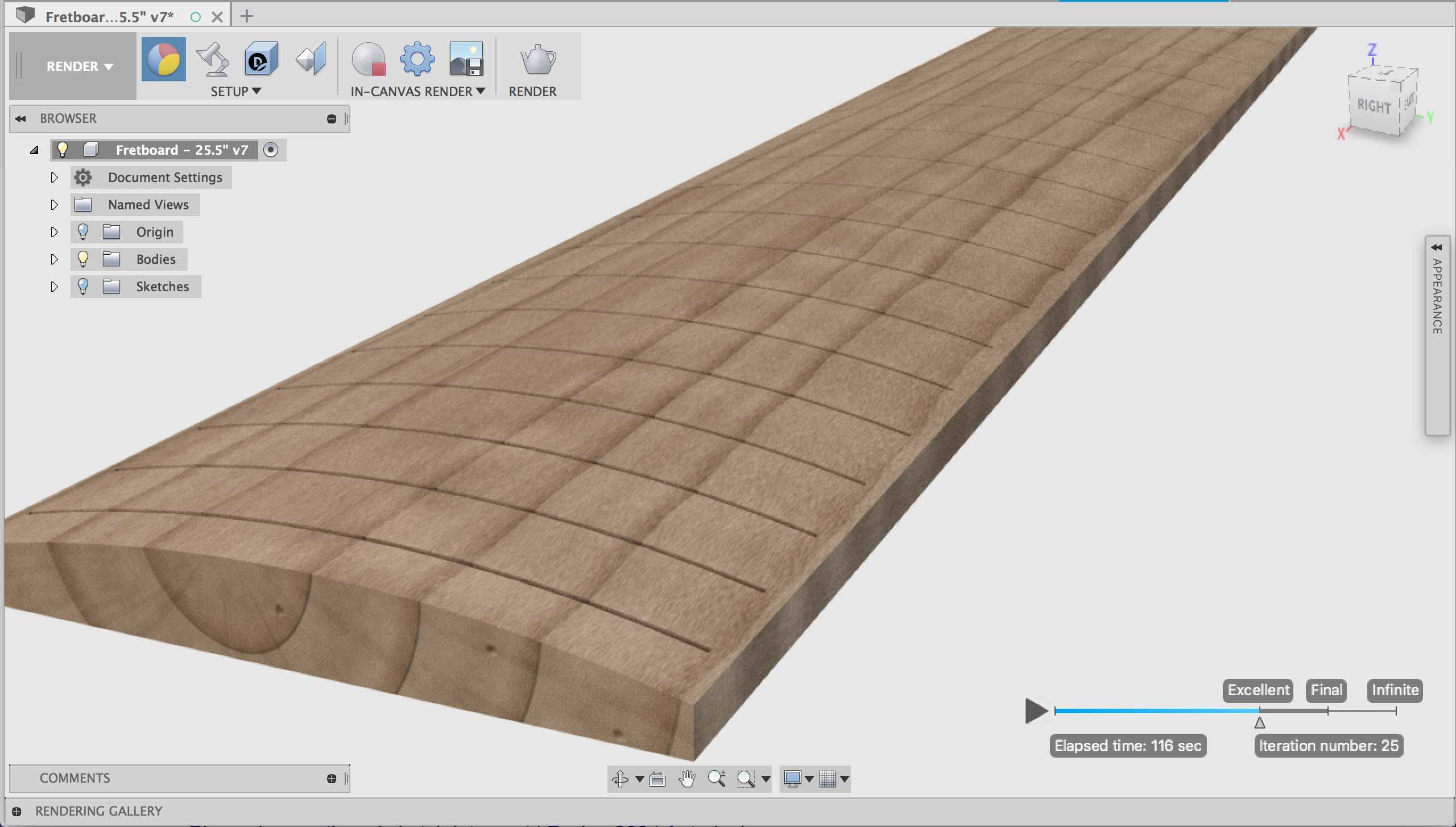 CNC Fretboard Modeling Fusion 360
