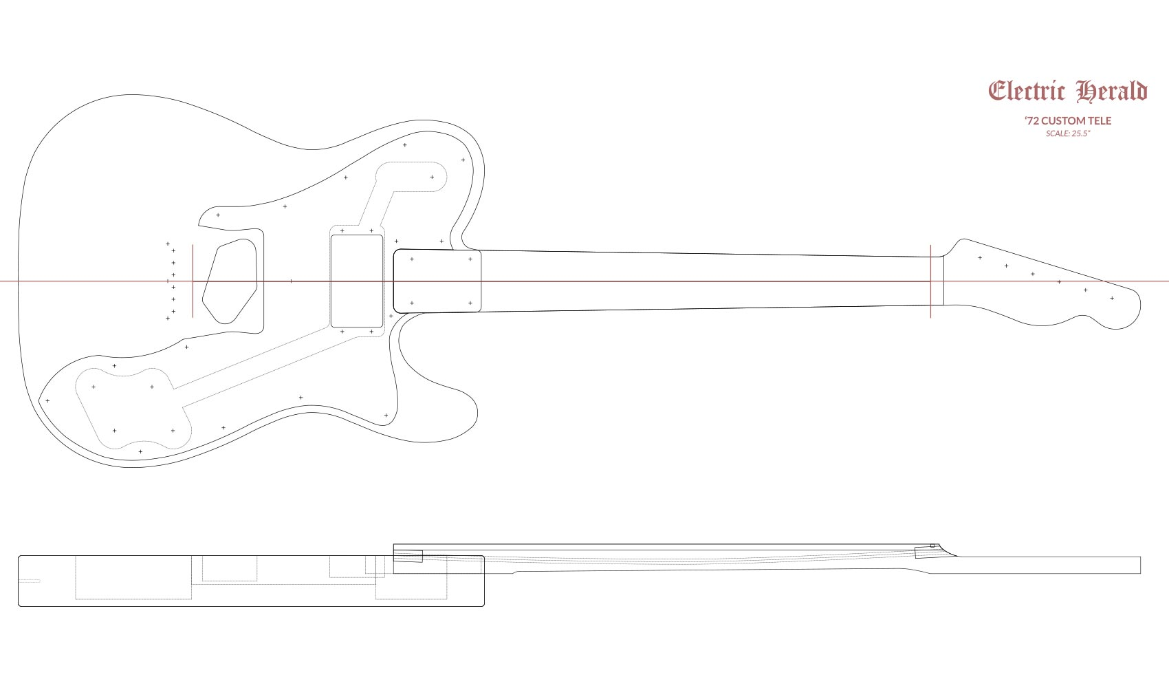 Fender Telecaster Router Templates (\'72 Custom) | Electric Herald