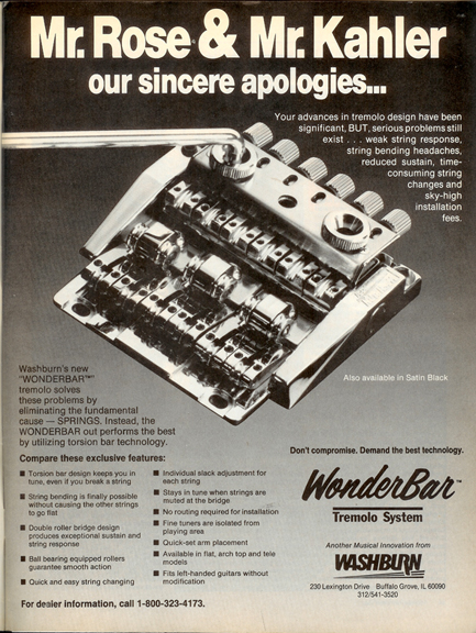 The Washburn Wonderbar tremolo system