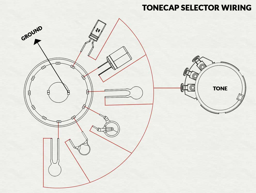 A diagram of the standard variable capacitor switch modification for your  guitar.